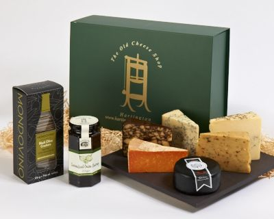 Millers Crackers, one jar of Caramelised Onion Chutney and Snowdonia Black Bomber Truckle, Irish Porter, Cheddar with Chilli & Lime, Thomas Hoe Stevenson Vintage Red Leicester, Fowlers Sage Derby and Hartington Blue Stilton. Cheese