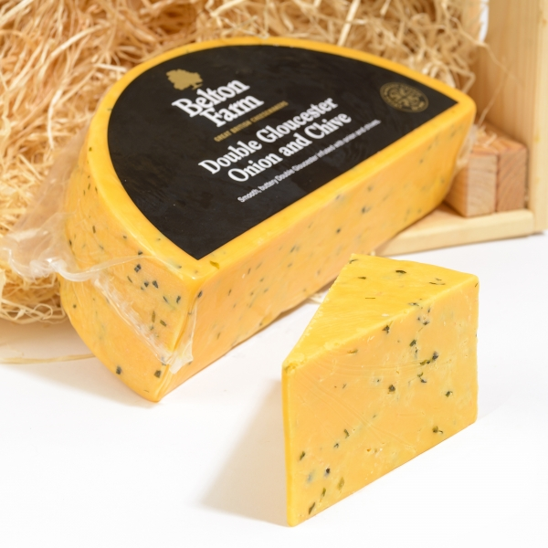 <p>Double Gloucester with Chives | Hartington Cheese Shop</p>