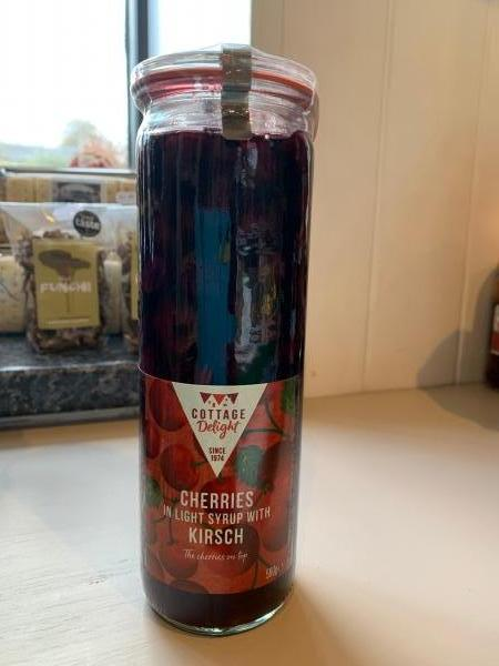 <p>Cherries soaked in Kirsch in a resealable storage jar.</p><p>Add to fizzy Prosecco and cocktails. Warm and pour over duck breasts or serve with fresh cream.</p><p> </p><p>No artificial additives</p><p>Suitable for vegetarians</p><p>Gluten Free</p>