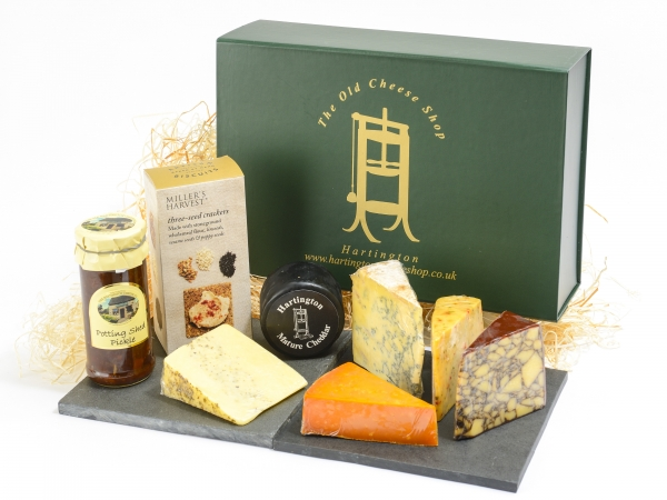 <p>Millers Crackers' one jar of Caramelised Onion Chutney and Snowdonia Black Bomber Truckle' Irish Porter' Cheddar with Chilli & Lime' Thomas Hoe Stevenson Vintage Red Leicester' Fowlers Sage Derby and Hartington Blue Stilton.</p>